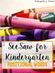 SeeSaw App Ideas for Kindergarten!  I use this positional word activity in my kindergarten classroom.  The kids record themselves on SeeSaw Learning Journal and learn positional words at the same time!  Check out how!