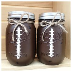 A Midnight Owl original! These pint size Mason Jar banks make the perfect baby shower gift, decor for a sports themed nursery/room or just an