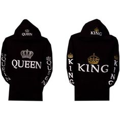 Amazon.com: Couple Matching King and Queen Hoodie Color Black Hooded Sweatshirt . Price Including 2 Hoodies: Clothing