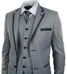 Mens Light Grey 3 Piece Suit Charcoal Trim Prom Wedding Waistcoat Blazer Trouser