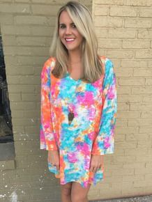 Peach, Love, California multicolor bright colorful dress Amour Boutique
