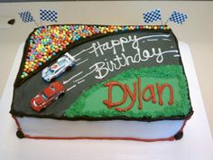 In reality, this race track cake is well matched with my cake decorating skill! Just need to add a theme to it by adding Jackson Storm and Lightening McQueen. I think I may be able to manage the Cars 3 logo out of fondant, but I'd replace Cars with Disney Cars Birthday, Race Car Birthday, Race Car Party, Cars Birthday Parties, Race Cars, 4th Birthday, Birthday Ideas, Hot Wheels Party, Hot Wheels Birthday