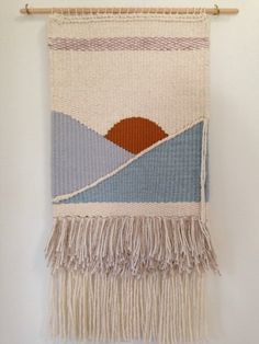 Handmade wall hanging wall weaving piscine by SecretCeremonyShop Weaving Textiles, Tapestry Weaving, Loom Weaving, Hand Weaving, Loom Knitting Patterns, Weaving Patterns, Knitting Tutorials, Free Knitting, Stitch Patterns