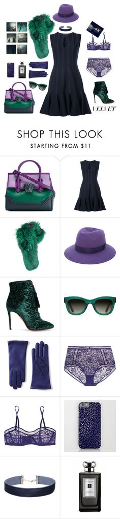 """emerald velvet"" by ms-wednesday-addams ❤ liked on Polyvore featuring Versace, Polaroid, Giambattista Valli, Lilly e Violetta, Borsalino, Aquazzura, TOMS, Lands' End, Eres and Miss Selfridge"