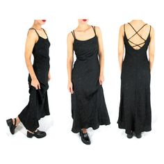SMALL 90s Black Goth Dress  Long Black Goth Dress  by ColonyVtg