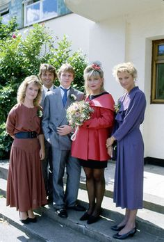 Ian and Cindy's wedding. Michelle, Wicksey and Kathy. Adam Woodyatt, Michelle Collins, Susan Tulley, Nick Berry and Gillian Taylforth.