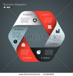 Vector hexagon infographic. Template for diagram, graph, presentation and chart. Business concept with six options, parts, steps or processes. Abstract background. - stock vector