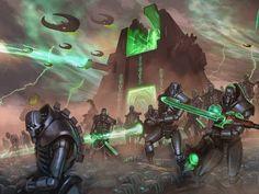 A Necron Tomb-World awakening. Warhammer 40k Necrons, Warhammer Fantasy, Warhammer Armies, Warhammer Models, Game Workshop, Starcraft, Geek Art, Sci Fi Art, Concept Art