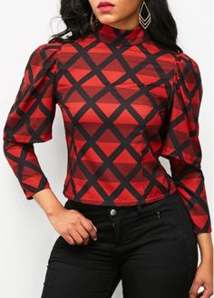 Red High Neck Long Sleeve Printed Blouse on sale only US$31.11 now, buy cheap Red High Neck Long Sleeve Printed Blouse at liligal.com