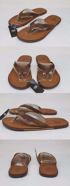 64a8c57211cc Sandals and Flip Flops 11504  Ugg Bennison Ii Leather Men S Flip Flops  Sandals Thongs Luggage Brown Size 12 Us -  BUY IT NOW ONLY   54.95 on eBay!