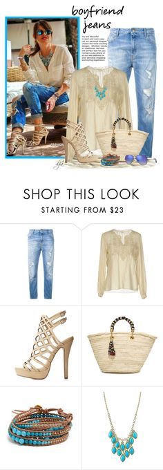 """""""Boyfriend Jeans"""" by dgia ❤ liked on Polyvore featuring Love Moschino, Yves Saint Laurent, Charlotte Russe, Giselle, Chan Luu, 1928 and Ray-Ban"""