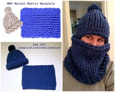 DIY Extra Chunky Knit Inspired Maison Martin Margiela Knit Hat and Cowl Tutorial from inspiration & realisation. Top Left Photo: $208 (sold out) MM6 Maison Martin Margiela Heavy Loose Knit Hat here, $322 MM6 Maison Martin Margiela Indigo Handmade...