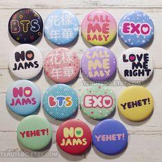 EXO & BTS / Bangtan Boys pins button kpop badges Kpop by TeruTebo