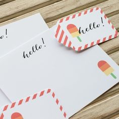 FREE Printable Summer Stationery! Download our adorable popsicle notecards + tags here, along with 11 other fabulous printables: http://www.thetomkatstudio.com/12freesummerprintables/