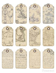 Digital Collage Sheet - Printable Gift Tags - Vintage Printable - VINTAGE…