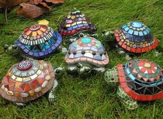 Multi designed mosaic garden turtles