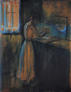 Girl Washing Herself (1896-98) by Edvard Munch