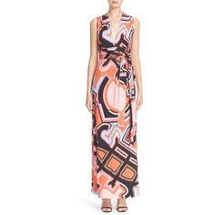 Women's Emilio Pucci Crossback Print Jersey Gown (4,465 ILS) ❤ liked on Polyvore featuring dresses, gowns, orange and emilio pucci