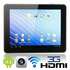 9.7  Android Tablet  This android tablet comes with a 9.7' screen size, android 4.0 operating system, dual rock chip 3066 cortex A9 CPU, 16GB DDR3 RAM, T-flash, 10 point IPS touch screen, 1024x768 resolution, 1080P HDMI, 2.0 mega pixels front and rear cameras, external 3G and connects to wifi.