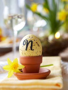 Try this clever alternative to place cards — eggs adorned with guests' initials. #Easter