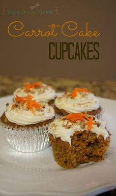 Making these for work this week! Carrot Cake Cupcakes ~ Gluten Free from Easy Green Mama.
