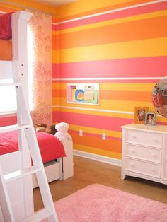 I'm getting into this pink and orange motif, with green or tourqoise accents.  hgtv teen girl rooms   13 Ways to Create a Vibrant and Cheerful Room : Page 02 : Decorating ...