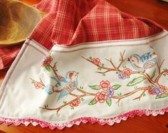 Blue bird tea towel from etsy seller TwoGirlsLaughing. I love how they take vintage embroidery pieces and repurpose them into tea towels. Embroidery Scissors, Embroidery Transfers, Vintage Embroidery, Hand Embroidery, Embroidery Designs, Machine Embroidery, Embroidery Software, Embroidery Supplies, Vintage Crafts