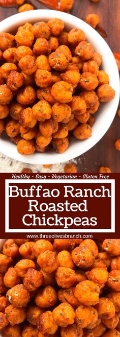 Buffalo Ranch Roasted Chickpeas Three Olives Branch : Simple, healthy, and easy game day snack recipe. Buffalo Ranch Roasted Chickpeas are crunchy garbanzo beans covered in buffalo wing sauce and ranch mix. Gluten free and vegetarian. Healthy Superbowl Snacks, Game Day Snacks, Game Day Food, Healthy Crunchy Snacks, Chickpea Snacks, Healthy Snacks Vegetarian, Chickpea Tuna, Vegetarian Appetizers, Chickpea Curry
