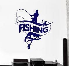 Vinyl Wall Decal Fisherman Fishing Rod Big Fish Logotype Stickers (2187ig)