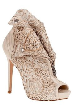 Ivory lace booties. High heel boots. Shoes. Peep toes.