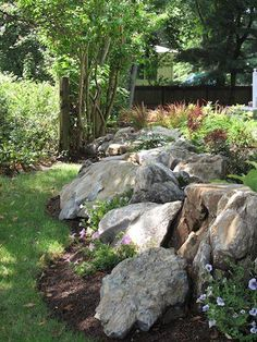 36 Rock Garden Landscaping Ideas To Your Inspire. Rock garden landscaping ideas includes stones in mulch that is easy or the design, it is your choice. You can also include a great waterfall feature a. Landscaping With Boulders, Hillside Landscaping, Front Yard Landscaping, Backyard Landscaping, Landscaping Ideas, Backyard Ideas, Large Backyard, Landscaping With Large Rocks, Desert Backyard