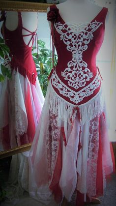 Red and white cowgirl native american tattered shabby chic country western barn wedding dress.