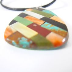 Turquoise and Multicolor Inlay Pendant by Beyond Buckskin Boutique