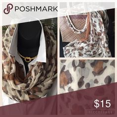 NWOT - Light cotton infinity scarf🌺 Light cotton infinity scarf. Gauzy leopard print scarf. Never worn. Excellent condition. Accessories Scarves & Wraps