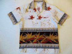 Vintage  Hawaiian Shirt, Retro 70s, Polyester Knit, Border Print, Andrade, Made in Hawaii, Loop Collar, Bird of Paradise, Size Large,