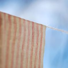 Natural Color Tea Towel with Red Stripes