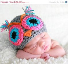 SALE Crochet owl handmade  Hat Camila   Newborn to by NattyHatty, $17.84. When someone I know named Candace gets knocked up!