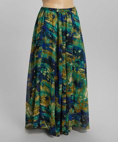 Look at this #zulilyfind! Blue Watercolors Maxi Skirt - Plus by Meetu Magic #zulilyfinds
