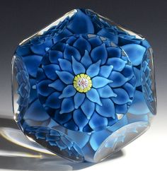 "Saint Louis {France} paperweight - Blue Dahlia w/6 layers of overlapping leaves. 1970, Ltd. Ed. 3 1/4""w x 2""t, 22.56 oz. - #0668"