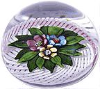 """1994-1995 collection. Three blossoms in a lace basket with a pink and white latticinio ribbon twist handle conjure the ritual of flower gathering. Allegro translates from Italian as happiness. Signed and dated. Limited edition of 10. Diameter 2 7/8"""". (PG136) http://selman.com/pg.html"""