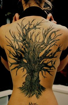 Award winning tattoos, #treetattoo  Back Piece Tattoo  by Steve'O  Never Lost Tattoo sacramento ca, Pacer County, text 916-640-4084  www.somethingwickedtattoo.com
