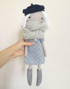 Rag Doll Cloth Doll Doll in Beret Eco Fabric Doll by AmuruToys