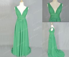 green bridesmaid dresses v neck bridesmaid dress by sofitdress, $138.00