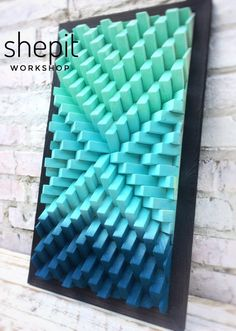 Handcrafted Turquoise Blue Wood Wall Art with frame / Sound Diffuser Panel This piece is made from pine wood and colored in Turquoise and Blue. 3d Wall Art, Wooden Wall Art, Hanging Wall Art, Large Wall Art, Metal Wall Art, Wood Wall, Blue Wood, Grey Wood, Art Turquoise