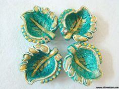 Terracotta Diya Candle Holder Green Home Decor Indian Handicraft Leaf-Set of 4 #etsymntt #etsyretwt