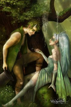 Puck and Fairy, A Midsummer Night's Dream.one of my fave Shakespeare plays! Fantasy World, Fantasy Art, Lynda Barry, Satyr, Midsummer Nights Dream, Ballet, Fantasy Inspiration, Green Man, Mythical Creatures