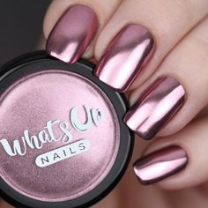 Rose Chrome Powder For Mirror Nails - trendy nails Rose Chrome Powder For Mirror Nails Rose Chrome Powder For Mirror - Nail Polish Colors, Gel Nail Polish, Nail Nail, Rose Gold Nail Polish, Cute Nails, My Nails, Chrome Nail Art, Gold Chrome, Chrome Rose Gold Nails