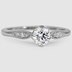 18K White Gold Jolie Diamond Ring // Set with a 0.41 Carat, Round, Super Ideal Cut, D Color, SI1 Clarity Diamond