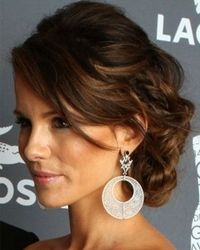 kate beckinsale curly prom updo hairstyle with side bangs