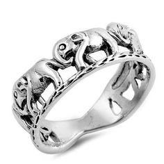 Silver Ring - Elephants-$10.3